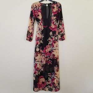 Petticoat Alley Floral Long Sleeve Maxi Dress XS